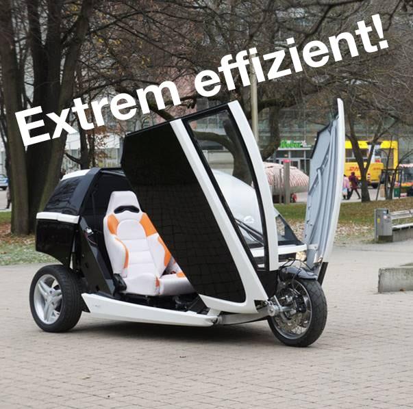 Elektro-Dreirad Innvelo_Schrift auf Bild: Extrem effizient!