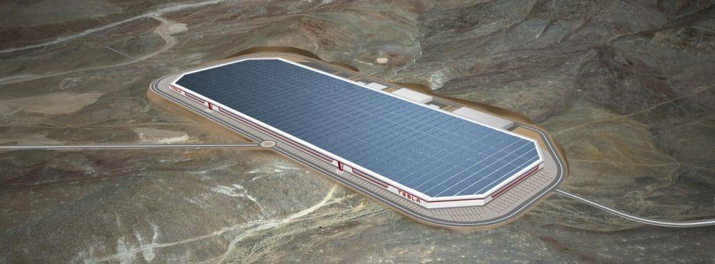 Luftaufnahme der Gigafactory von Tesla in Nevada