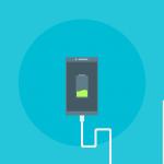 Icon eines Handy, das an einer Steckdose steckt. Auf dem Bildschirm ist ein Akkusymbol mit grüner Welle als Akkustand.
