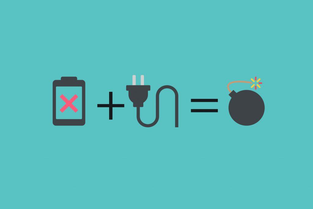 Emoji: Tiefentladener Akku + Ladekabel = Bombe