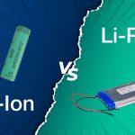 Eine zylindrische Lithium-Ionen Zelle und eine Lithium-Polymer-Pouchzelle vor einem grün-/blauen Hintergrund mit VS in der Mitte