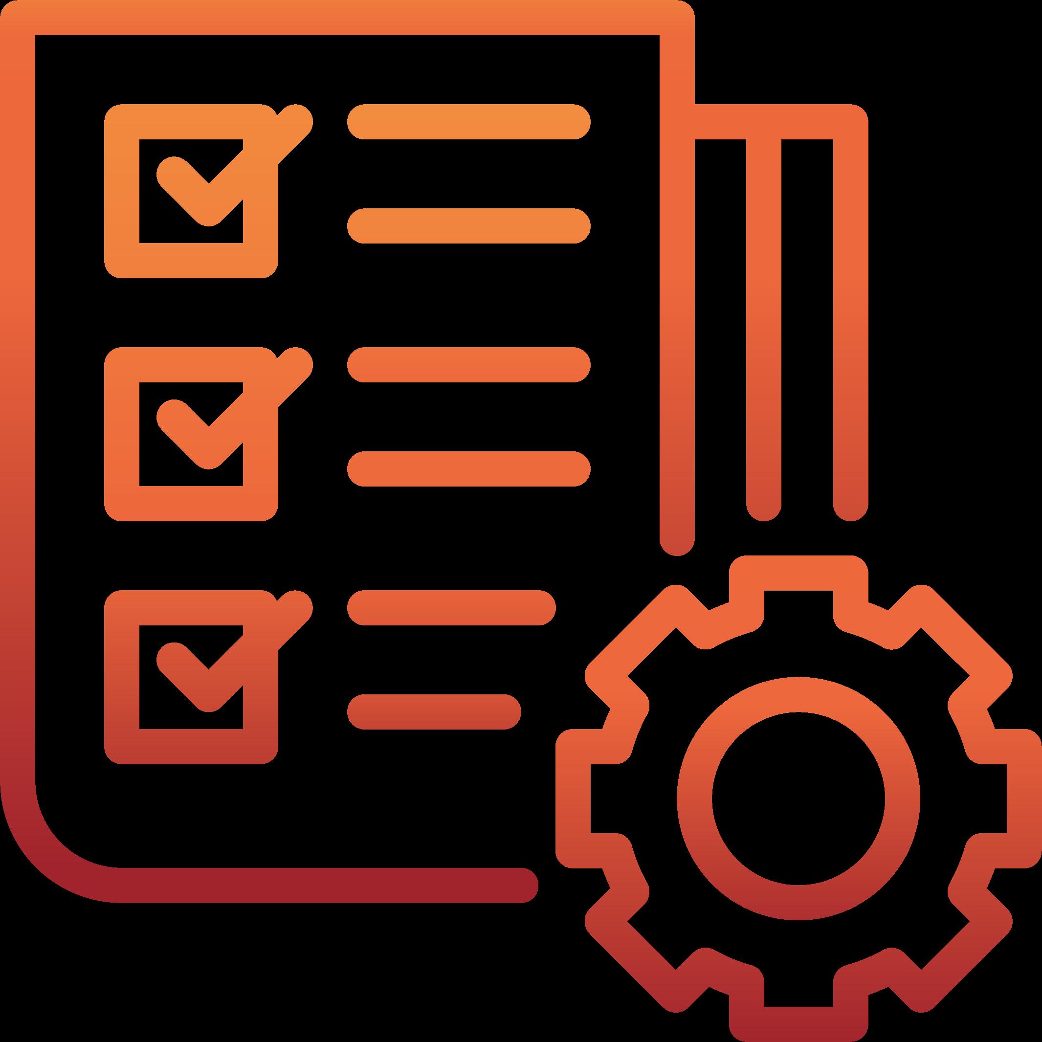 Icon einer Checkliste mit rotem Farbverlauf